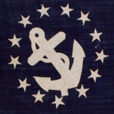 Rare flags antique american flags historic american flags the yacht ensign consists of a boat anchor enclosed within a wreath of 13 stars the pattern first emerged in 1848 when congress officially designated the publicscrutiny Choice Image